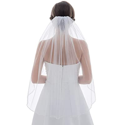 One-tier Elbow Length Bridal Veils With Beading Edge
