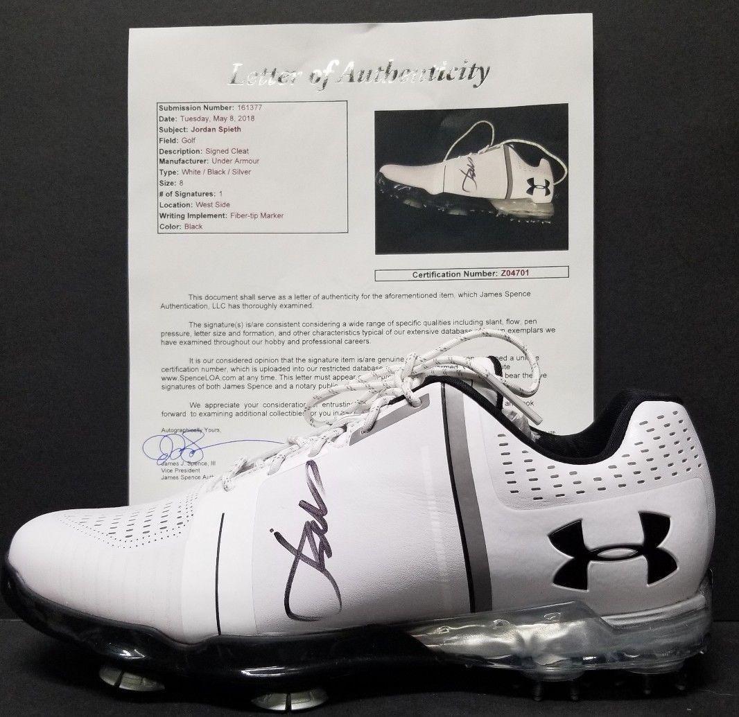JORDAN SPIETH Signed Autographed MASTERS CHAMP UNDER ARMOUR SZ 8 SHOE. - JSA Certified - Autographed Golf Shoes