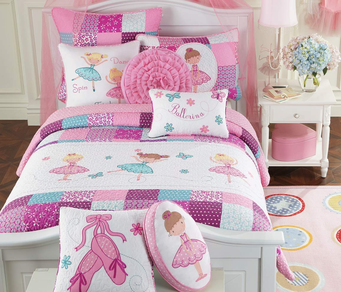 Cozy Line Home Fashions Ballerina Dance Princess Bedding Quilt Set, Pink Orchid Light Purple 100% Cotton Bedspread for Kids Girl (Pink Embroidered, Twin - 2 Piece) by Cozy Line Home Fashions
