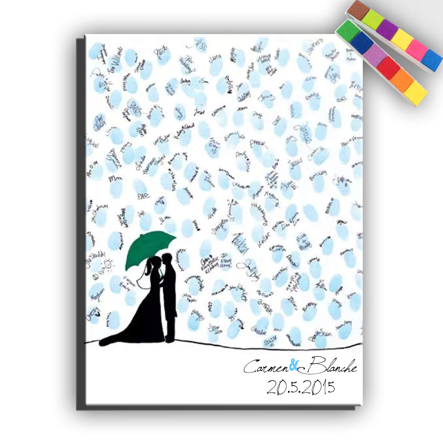 Yiju Fingerprint Signature Canvas Print Lovers in The rain Wedding Tree Wedding Gift Wedding Decoration Party Gift Wedding Name (Included 12 Ink Colors) (35x50cm no Framed)