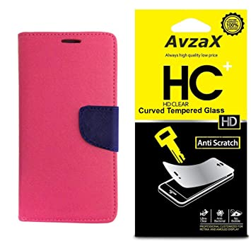 Avzax Flip Cover with Magnetic Closure  Pink  with Tempered Glass for Sony Xperia C3 Cases   Covers