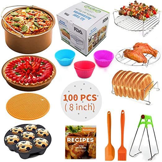 Air Fryer Accessories XL for Gowise Phillips Cozyna Ninja Gourmia Zeny, Set of 14 for 4.2/4.5/5.5/5.8/6.5 QT with Recipe Cookbook, Rust Proof 8 Cake ...