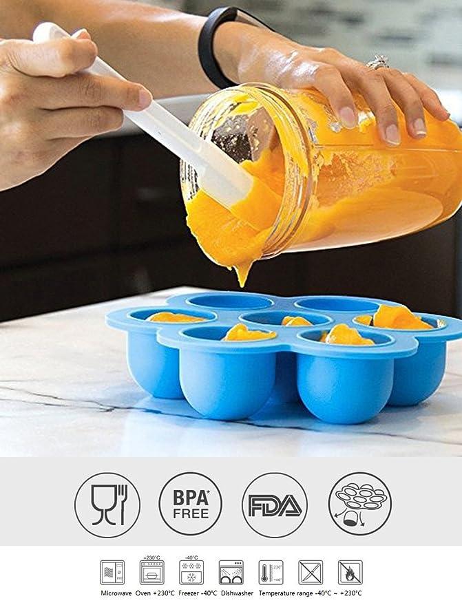 Bebé de silicona reutilizable Alimentos Contenedores de almacenamiento para etapa, mejor congelador bandejas para casero comida para bebés de clip con tapa, ...