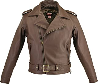 product image for Men's Full Belted Brown Biker Jacket (42)