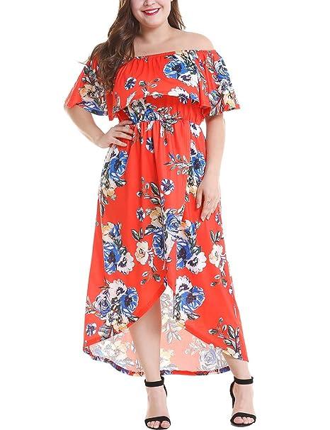 a9f30a4345d Women's Plus Size Floral Print Off Shoulder Ruffle Maxi Hi-Low Dresses
