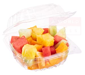 A World Of Deals Clamshell Square Clear Hinged [50 Pack] Take-Out Plastic Salad Go Sandwich Containers [Size: 5 3/8