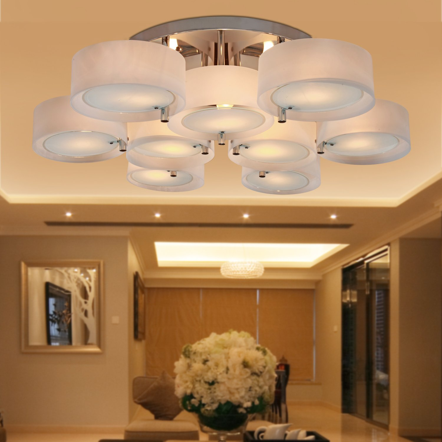 Amazon lightinthebox acrylic chandelier with 9 lights modern amazon lightinthebox acrylic chandelier with 9 lights modern flush mount ceiling light fixture fit for study roomoffice bedroom living room chrome mozeypictures Image collections