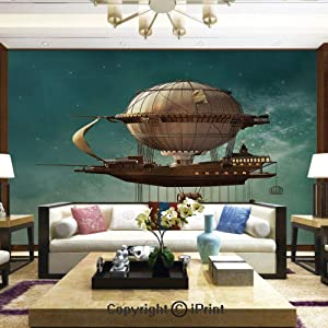 Lionpapa_mural Removable Wall Mural Ideal to Decorate Bedroom,or Office,Surreal Sky Scenery with Steampunk Airship Fairy Sci Fi Stardust Space Image,Home Decor - 100x144 inches
