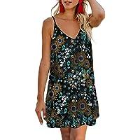AlvaQ Women Summer Spaghetti Strap Button Down V Neck Sleeveless Casual Mini Dress
