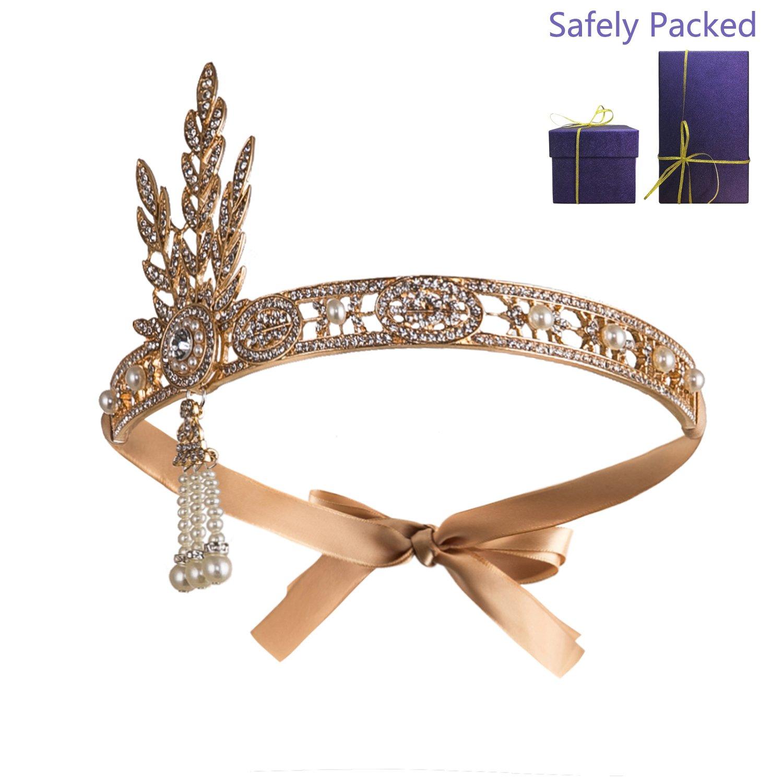 Metme Bling Rhinestone Pearl Wedding Headpiece 1920s Gatsby Themes Party Headband