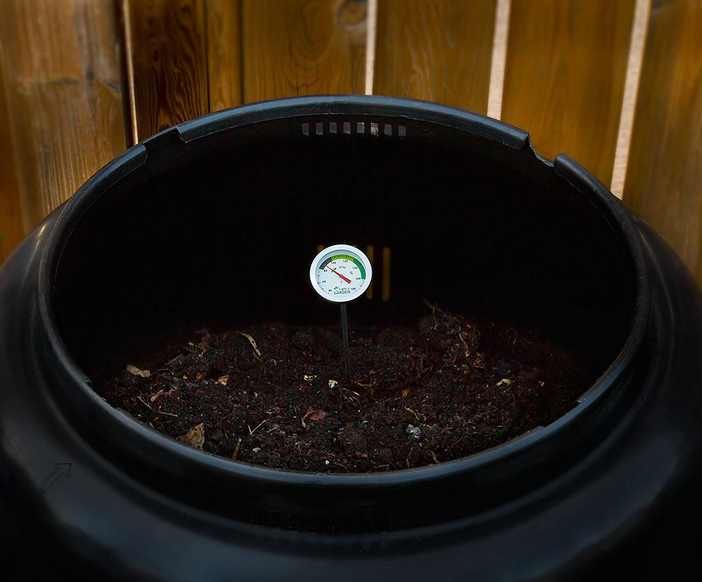 Cates Garden Termómetro de compostaje, bimetal, acero inoxidable de calidad prémium, para compostaje en patio, esfera Fahrenheit de 5 cm de diámetro, ...