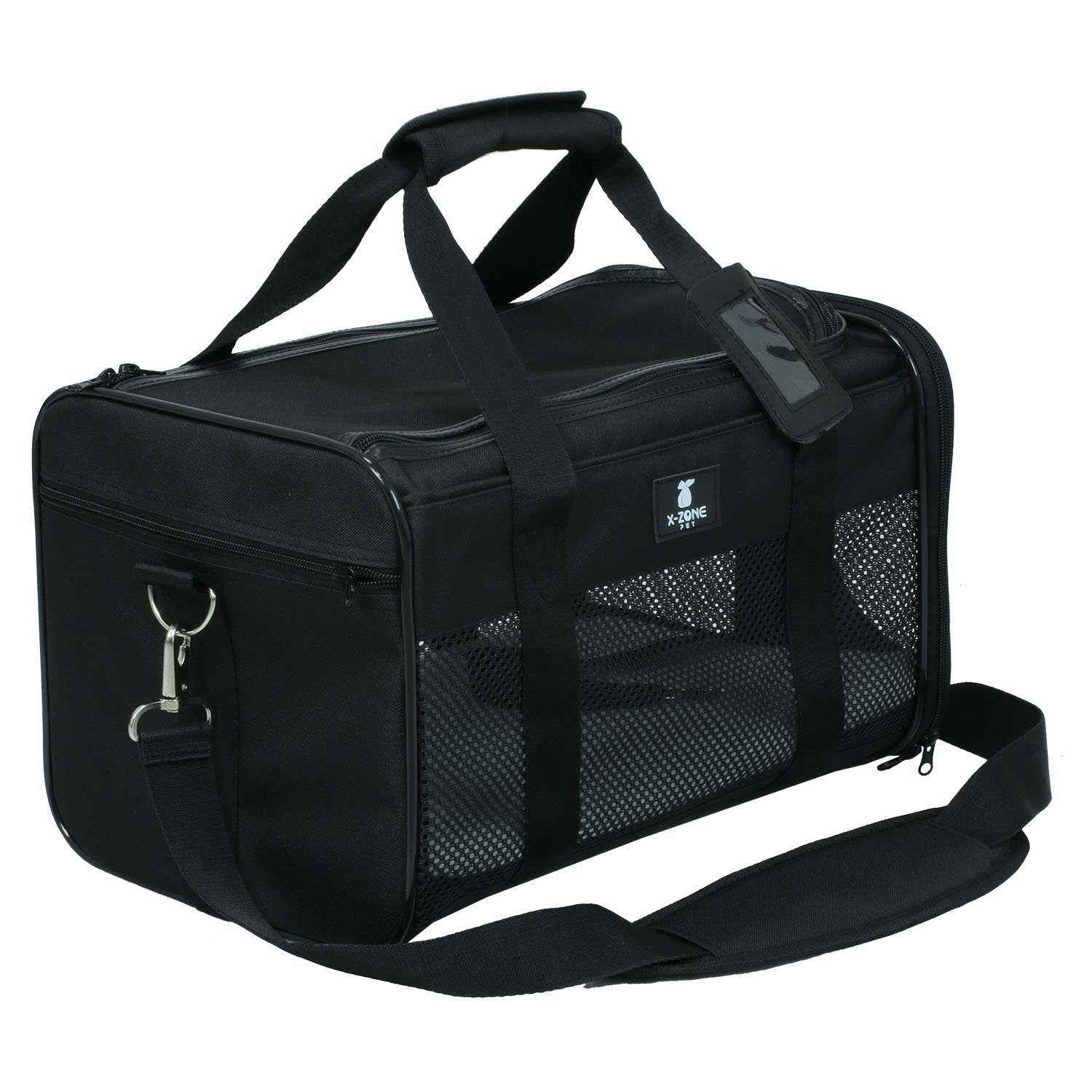 X-ZONE PET Airline Approved Soft-Sided Pet Travel Carrier for Dogs and Cats, Black (Large)