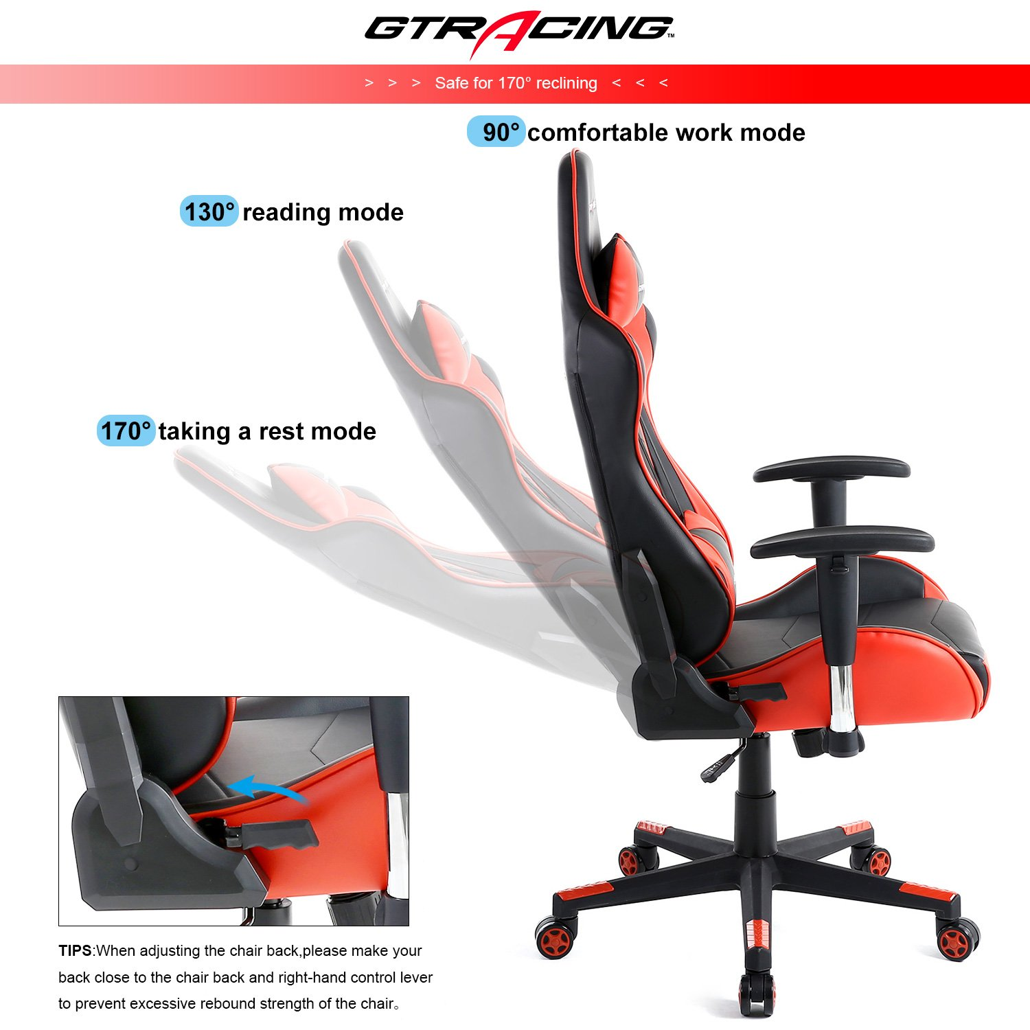 GTracing Ergonomic Office Chair Racing Chair Backrest and Seat Height Adjustment Computer Chair With Pillows Recliner Swivel Rocker Tilt E-sports Chair (Black/Red) by GTRACING (Image #5)