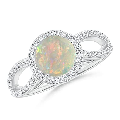 Angara Split Shank Opal Ring in Yellow Gold - October Birthstone Ring l7mDOX8j7