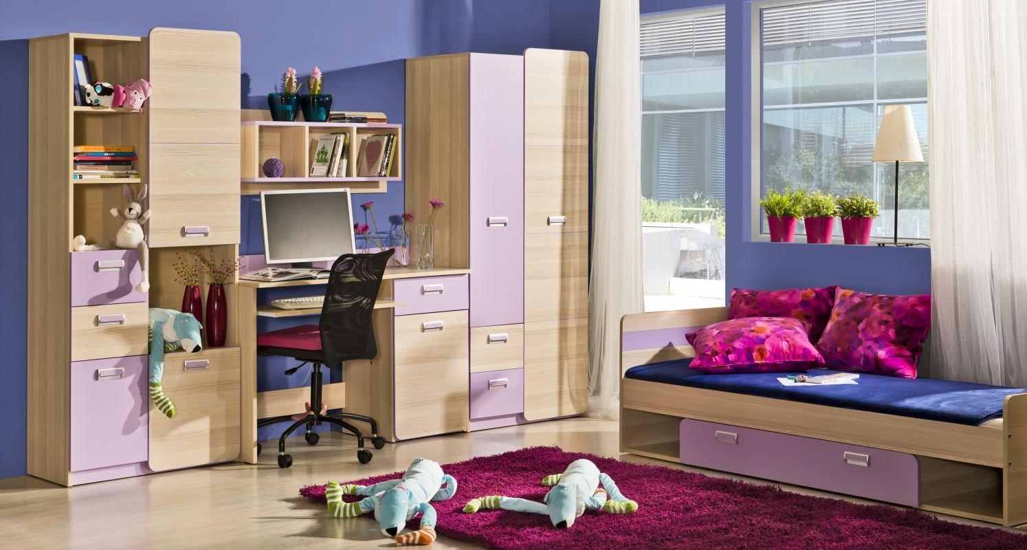 Jugendzimmer Komplett - Set H Dennis, 5-teilig, Farbe  Esche Lila