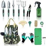 YARTTING Garden Tool Set 29 Piece, Heavy Duty Gardening Tools with Soft Rubberized Non-Slip Handle Tools, Handbag & Digging G