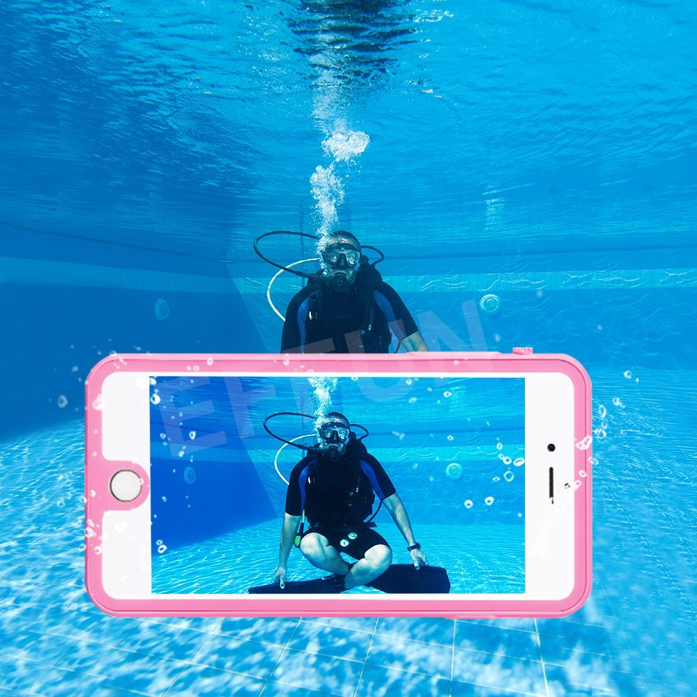 IP68 Certified Waterproof Dustproof Snowproof Shockproof Case with Cell Phone Holder PH Test Paper Stylus Pen and Floating Strap Black//White//Pink//Aqua Blue EFFUN iPhone 7 Plus Waterproof Case