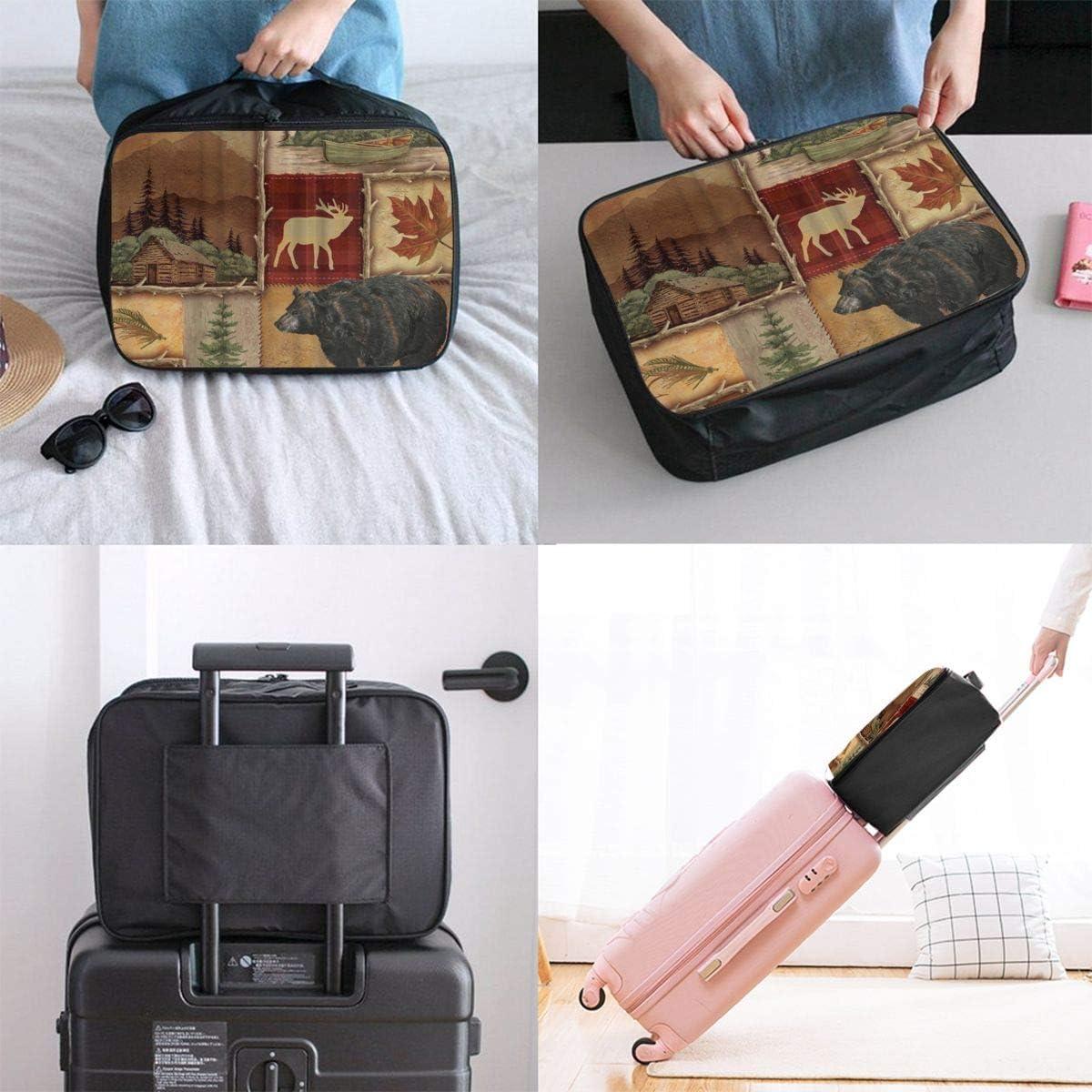 Gym Rustic Lodge Bear Moose Interesting Mens And Womens Travel Folding Bags Sports Waterproof Light Travel Bags