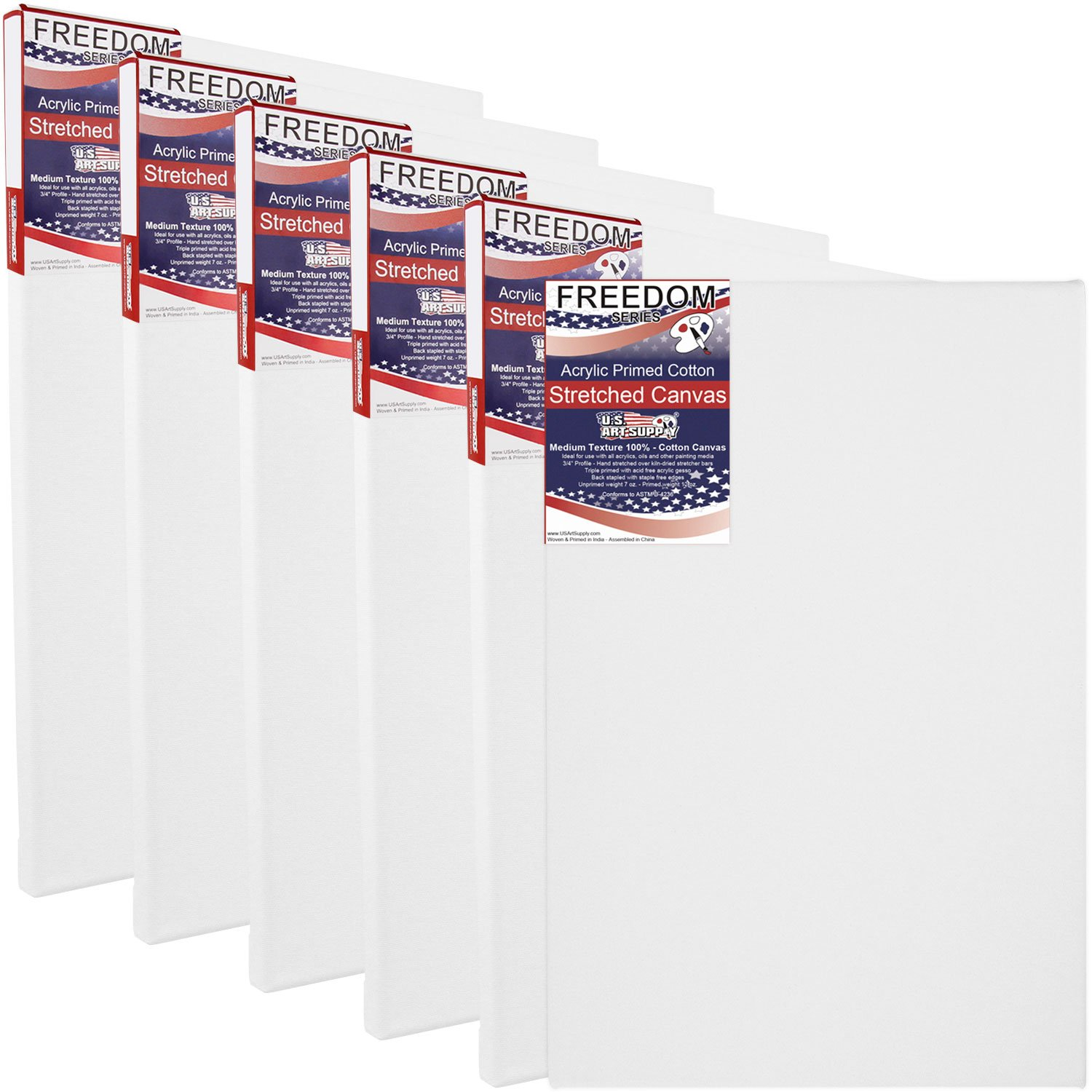 US Art Supply 36 X 48 inch Professional Quality Acid Free Stretched Canvas 6-Pack - 3/4 Profile 12 Ounce Primed Gesso - (1 Full Case of 6 Single Canvases)