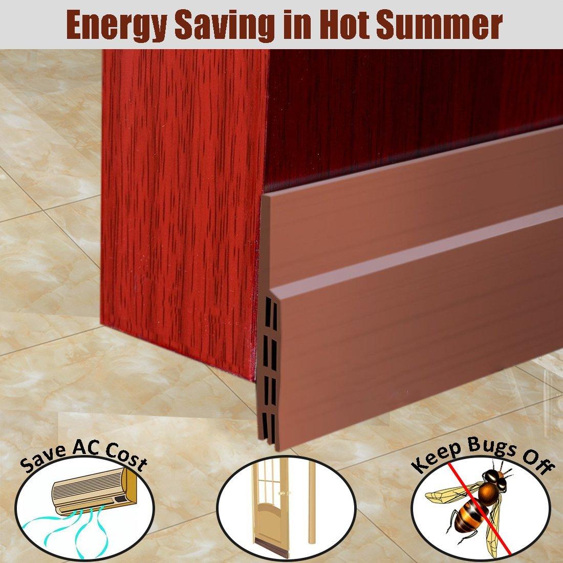 MAZU Door Bottom Seal Strip Energy & Money Saving in Hot Summer Save Air Conditioner Cost Keep Bugs&Noise Off Under Door Sweep Weather Stripping Door Draft Stopper 2'' x 39'' (Brown)
