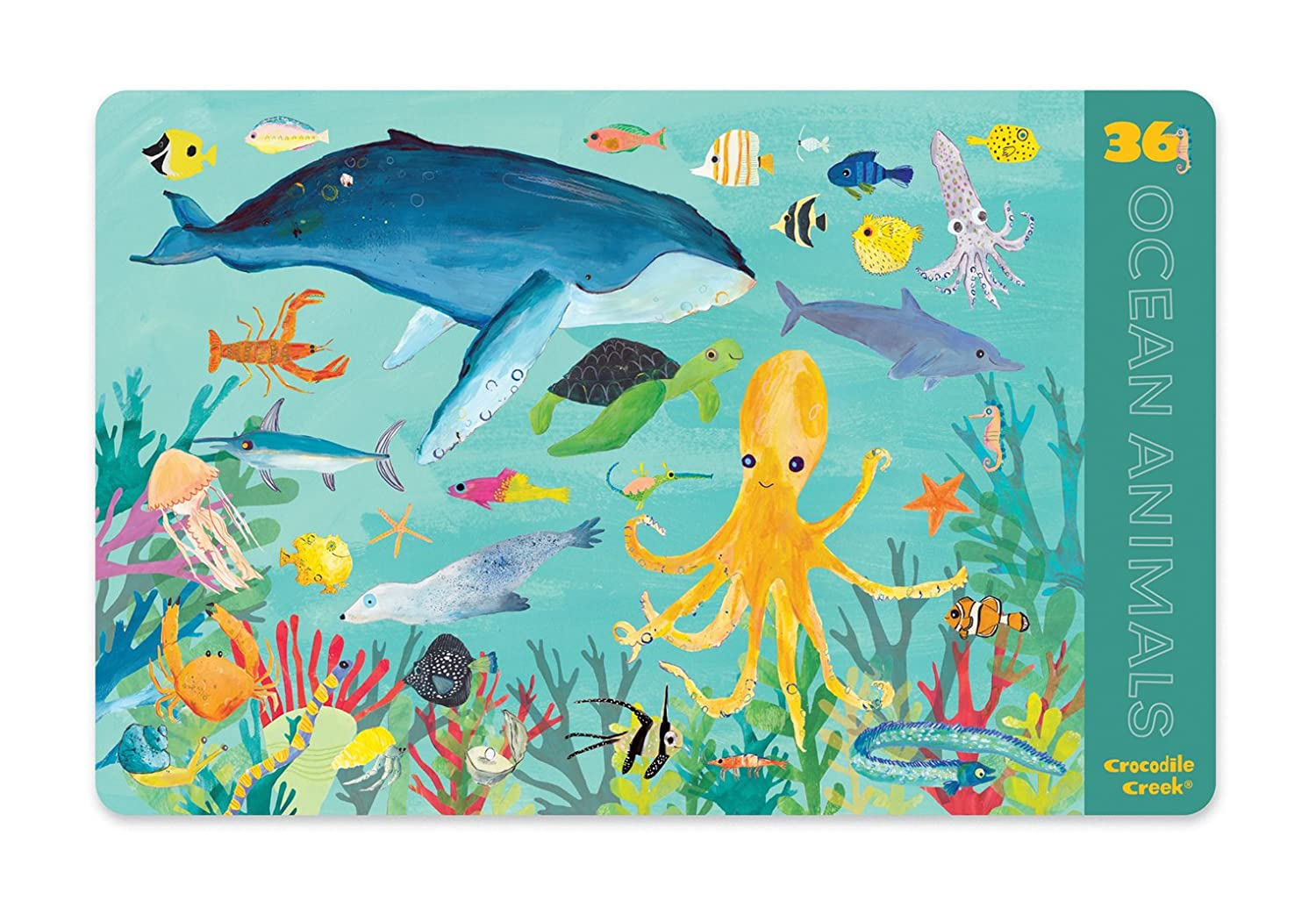 Teal Yellow Blue Crocodile Creek 36 Ocean Animals 2-Sided Placemat Childrens Green