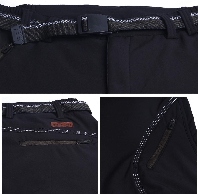 BWBIKE Mens Randonn/ée Exploration Pantalon en Plein Air Coupe-Vent Doubl/é en Polaire Doubl/é Zip Off Mountain Cargo Trousers