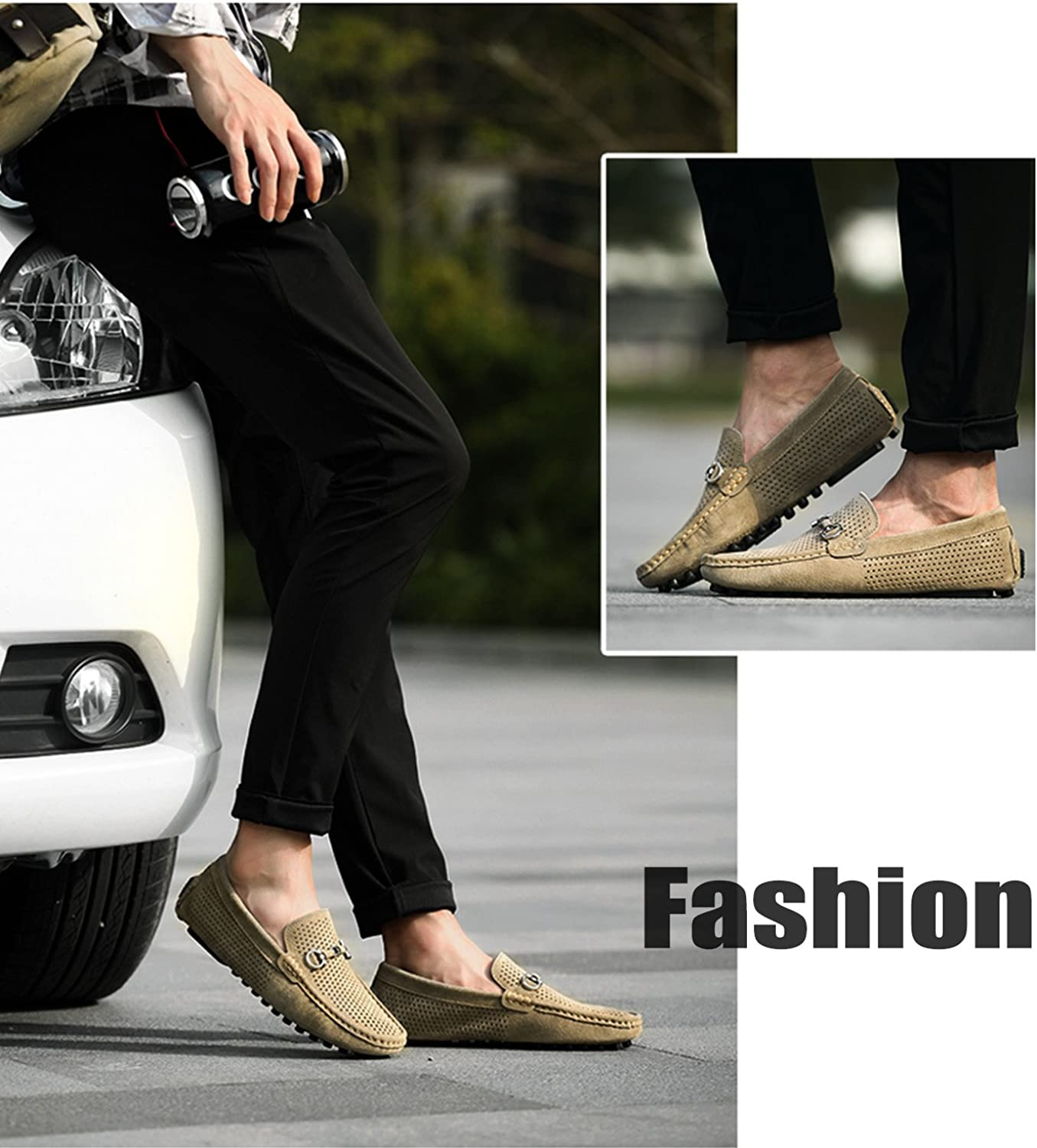 HTAO Mens Fashion Mesh Hollow Suede Driving Loafers