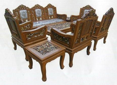 Amazoncom Carved teak wood living room furniture set with