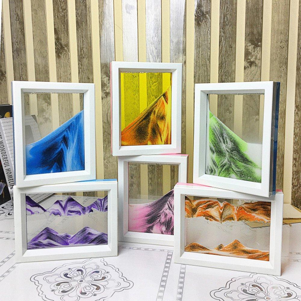 Ocean Heart CooCu Moving Sand Art Picture,Desktop Art Toys - Black,White,Blue Voted Best Gift!