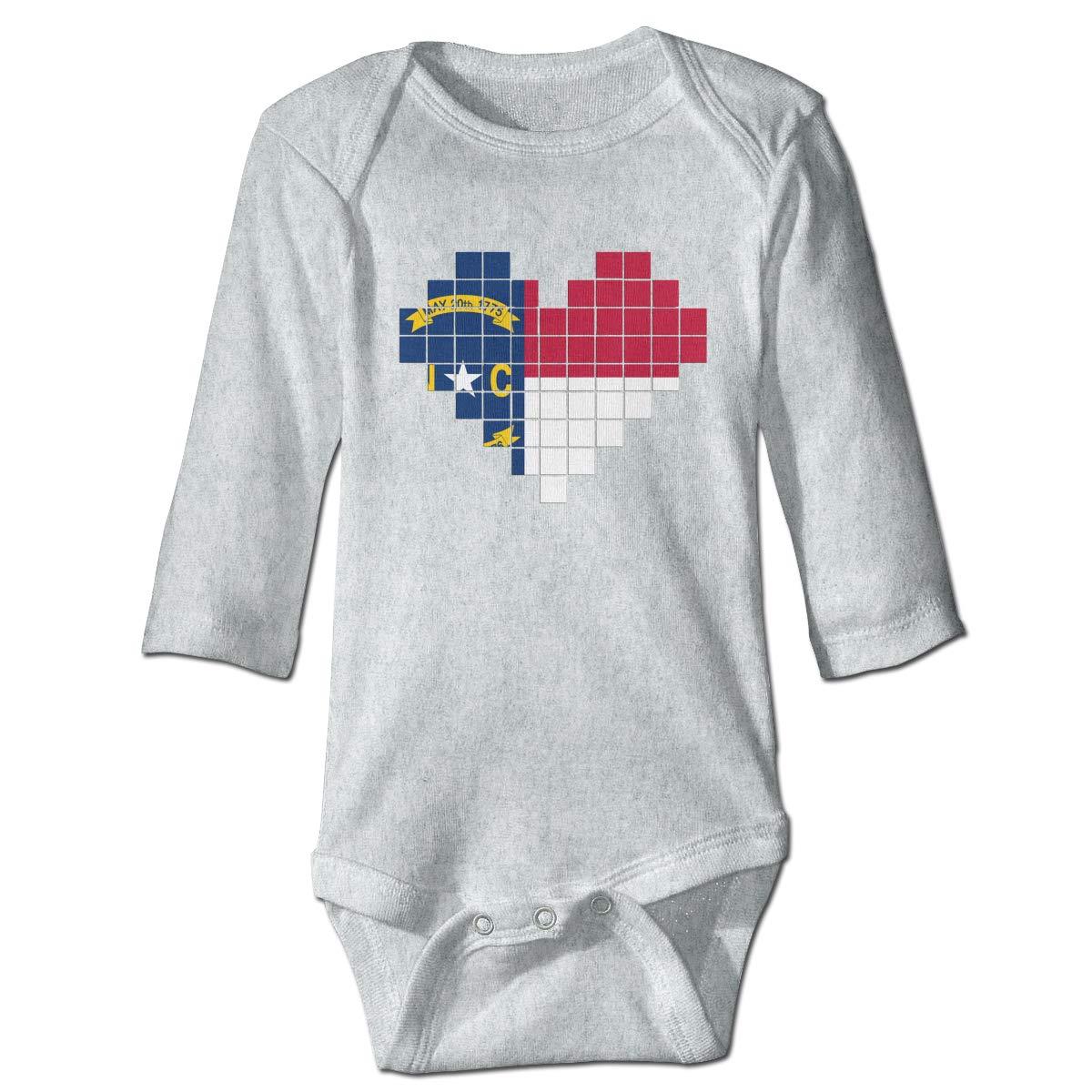 Newborn Baby Boys Girls Long Sleeve Climb Romper North Carolina Flag Playsuit Outfit Clothes