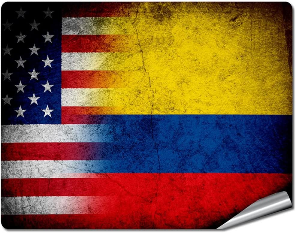 """8"""" x 10"""" Decal / Sticker/Skin with Flag of Colombia - Rustic w USA Flag - UV Resistant - Outdoor Quality - Lasts for years"""