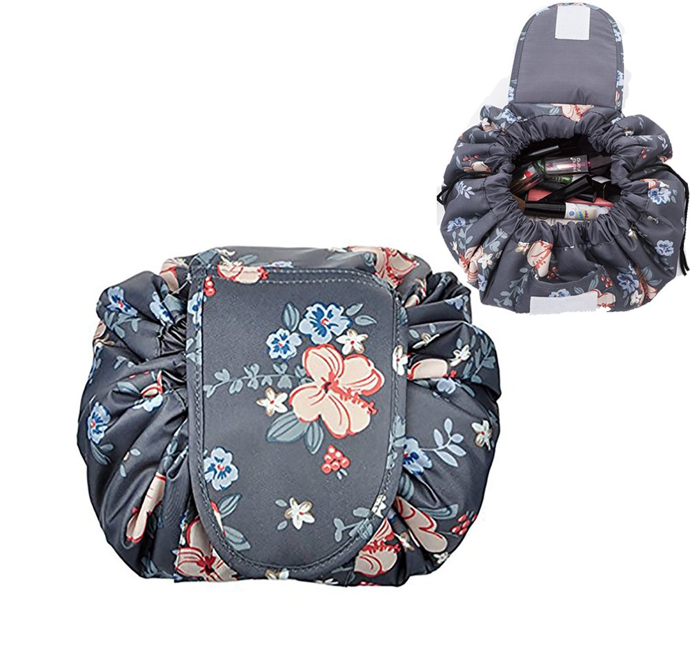 YiKiMira Lazy Portable Makeup Bag Large Capacity Drawstring Cosmetic Bag Waterproof Travel Makeup Pouch Magic Toiletry Bag Storage Organizer for Women Girls (Blue Flower)
