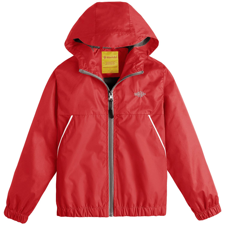 Wantdo Boy's Lightweight Hooded Rain Jacket Waterproof Outwear for Traveling(Red, 8)