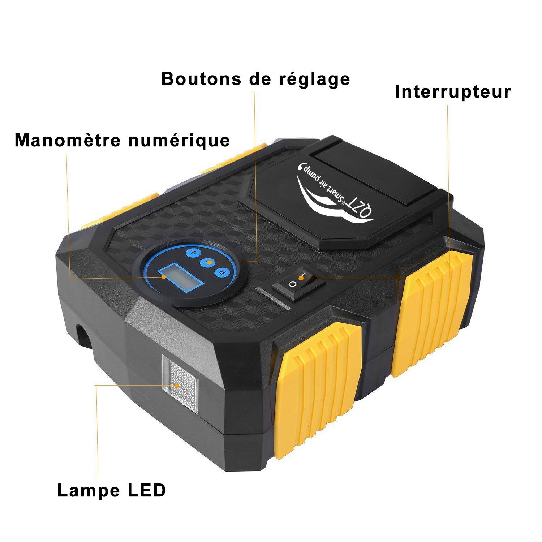 Amazon.es: QZT Compresor de Aire, Comprimido PSI 150 con Pantalla Barométrica Gigital, con Cable de 3 Metros no Visible. para Autos, Scooters, Accesorios.