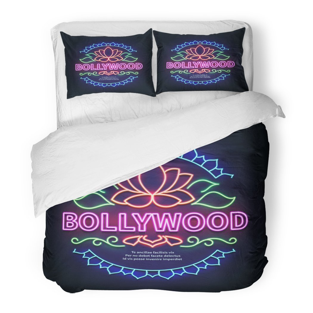 SanChic Duvet Cover Set Colorful Abstract Vintage Bollywood Movie Signboard Glowing Retro Indian Cinema Neon Sign of Billboard Decorative Bedding Set with 2 Pillow Shams Full/Queen Size