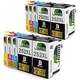 JARBO 2 Set+2 Black Replacement for Epson 252 Ink Cartridge High Yield, 10 Packs(4 Black 2 Cyan 2 Magenta 2 Yellow), Worked with Epson Workforce WF 3640 WF 3630 WF 3620 WF 7610 WF 7620 WF 7110 Printer