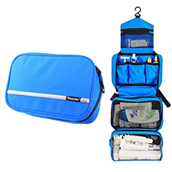 5a20d93409 Amazon.com   Cosmetic Pouch Toiletry Bags Travel Business Handbag Waterproof  Compact Hanging Personal Care Hygiene Purse (blue)   Beauty
