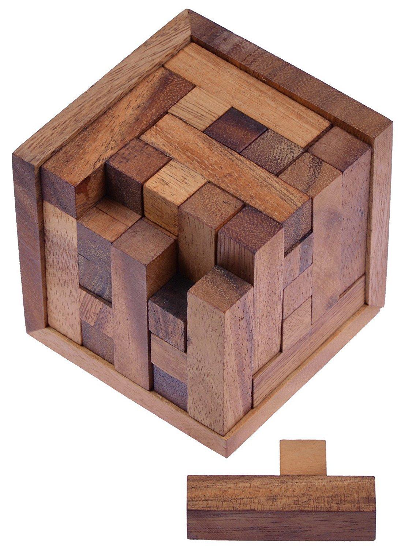Packwürfel 125er Cube S - 3D Puzzle - Denkspiel - Knobelspiel - Geduldspiel - Logikspiel im Holzrahmen Logoplay Holzspiele Architektur