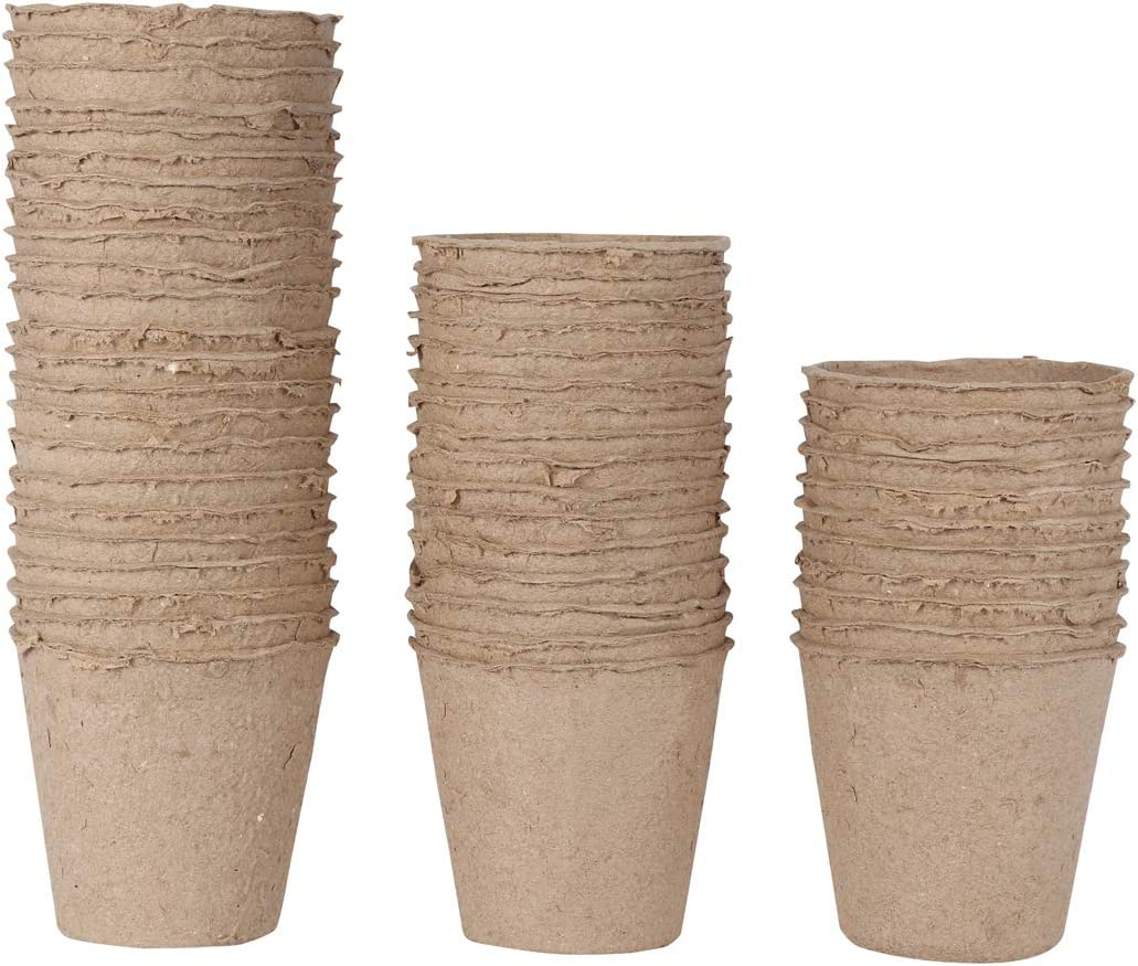 WARKHOME 48 Unidades Macetas de Fibra Biodegradable,Turba Macetas para Plantasde de Semillero, Enfermería, Plantas de Suministro(Redondas,8cm)