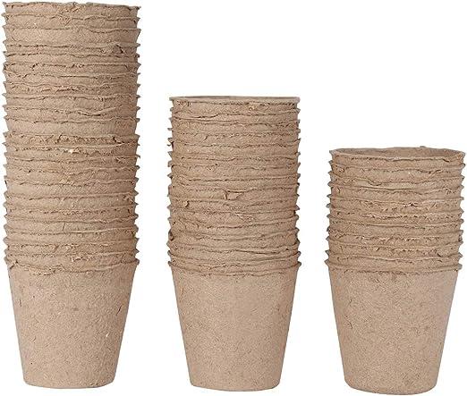 WARKHOME 48 Unidades Macetas de Fibra Biodegradable, Turba Macetas ...