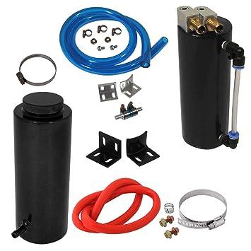 Universal 350 ml negro de aluminio aceite Catch Can tanque de cilindro + 2,5