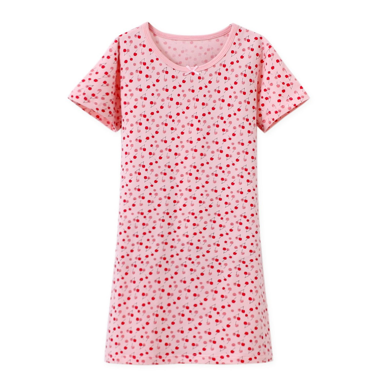 BLOMDE Toddler Girls' Nightgowns Cotton Nightie Summer Nightdress Pink for L(6)