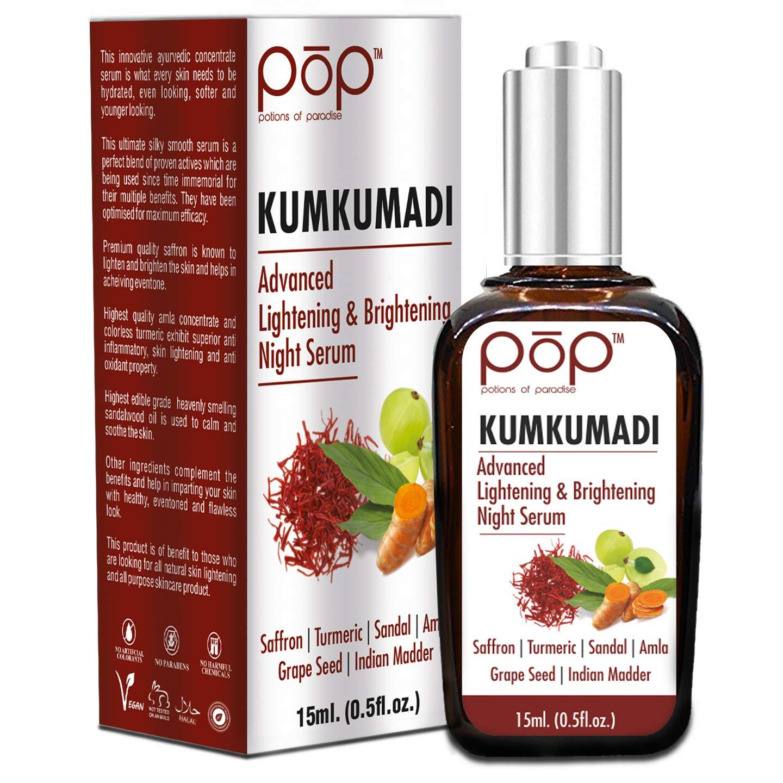 POP (Potions of Paradise) Kumkumadi Advanced Brightening Night Serum with Kashmiri Saffron, Turmeric, Emblica, Sandalwood, Grape Seed, Manjistha product image