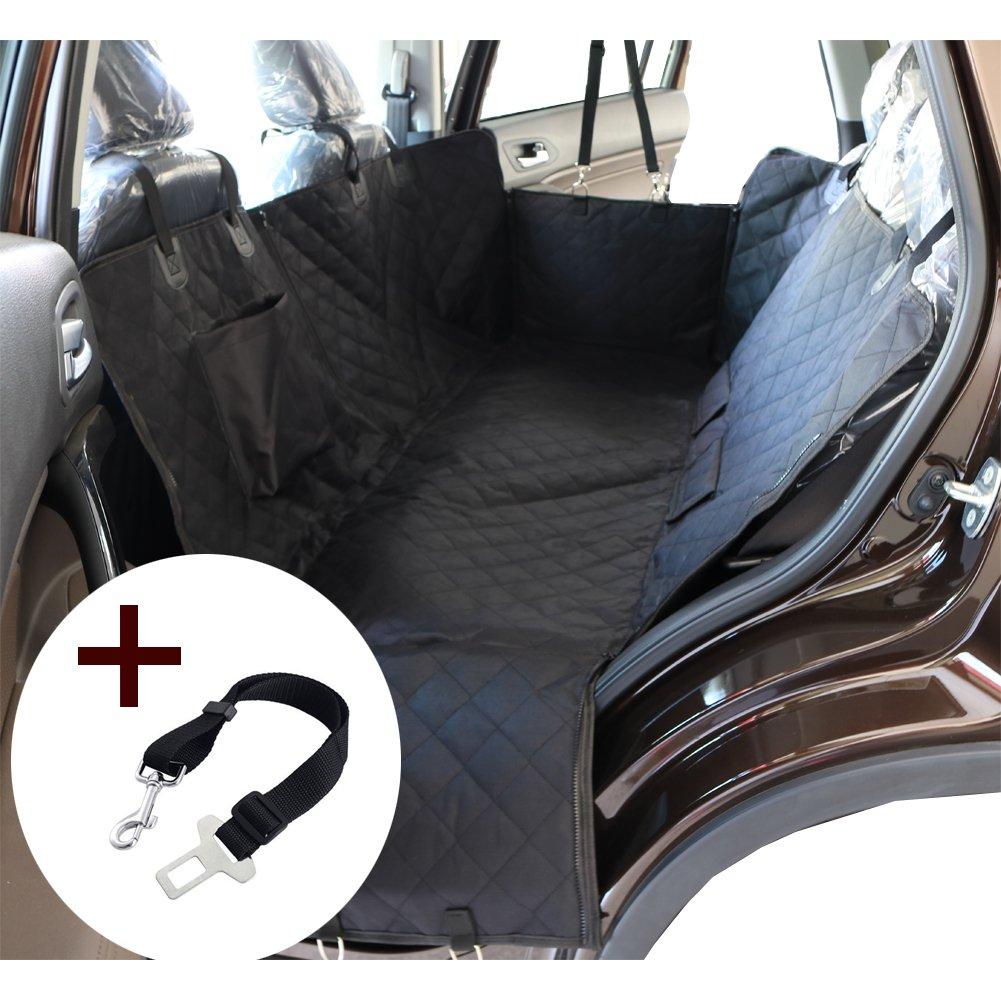 Housse de siège de voiture pour chien Pet Protection de hamac lavable à l'eau pour les voitures SUV et camion, étanche et non glissière Backing et ceinture de sécurité, noir (140x150x45cm) ANFAYEJIA-JMH01
