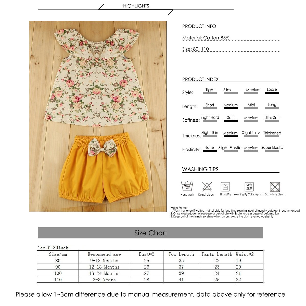 12-18 Months, Floral+Yellow Puseky Infant Toddler Baby Girls Floral Ruffle Shirt and Shorts Clothes Outfit Set