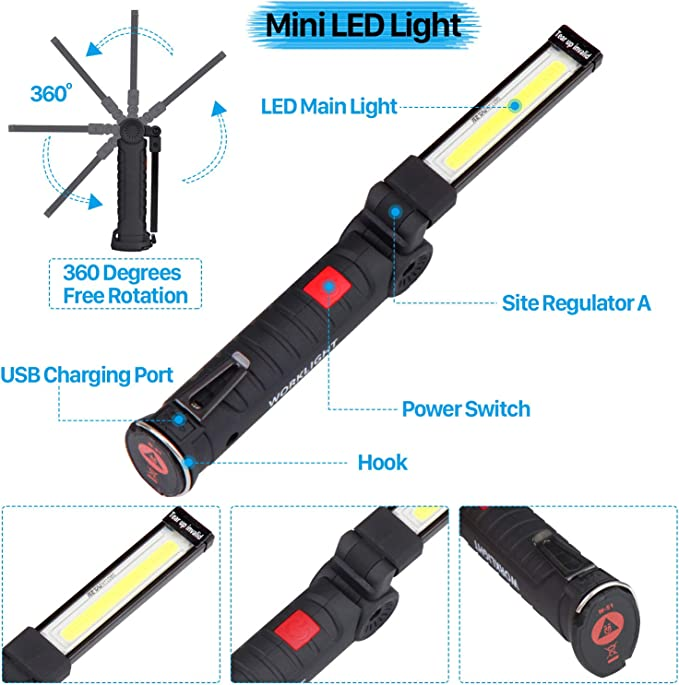 Lot Upgraded Rotated Foldable Flashlight Torch USB Rechargeable LED Work Light