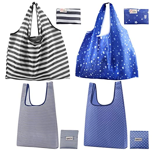 Bolsas de compras reutilizables, Topfinder, 4 bolsas de la compra plegables con bolsa, duraderas, lavables, de nailon, respetuosas con el medio ...