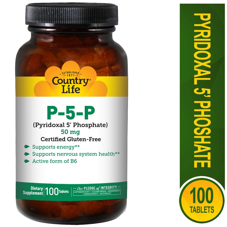 P-5-P (fosfato de piridoxal 5) , 50 mg, 100 tabletas - Vida en el campo: Amazon.es: Salud y cuidado personal