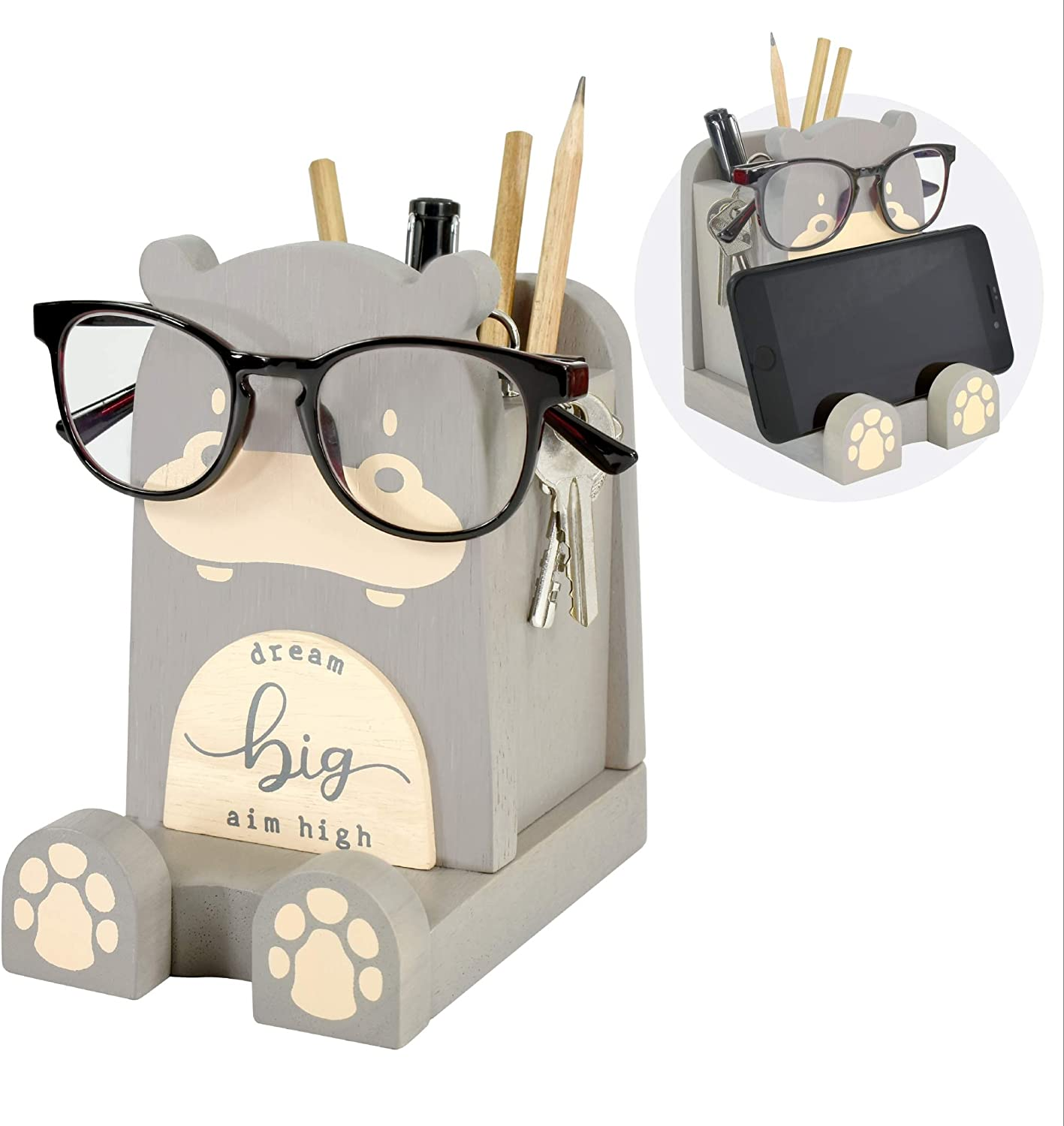 "Wood Multipurpose Eyeglass Phone Pen & Pencil Holder Stand Stationery Desk Box Organizer Accessories Decor, Home Office Desktop Decoration Birthday Graduation Gifts ""Dream Big Aim High"" (Hippo)"