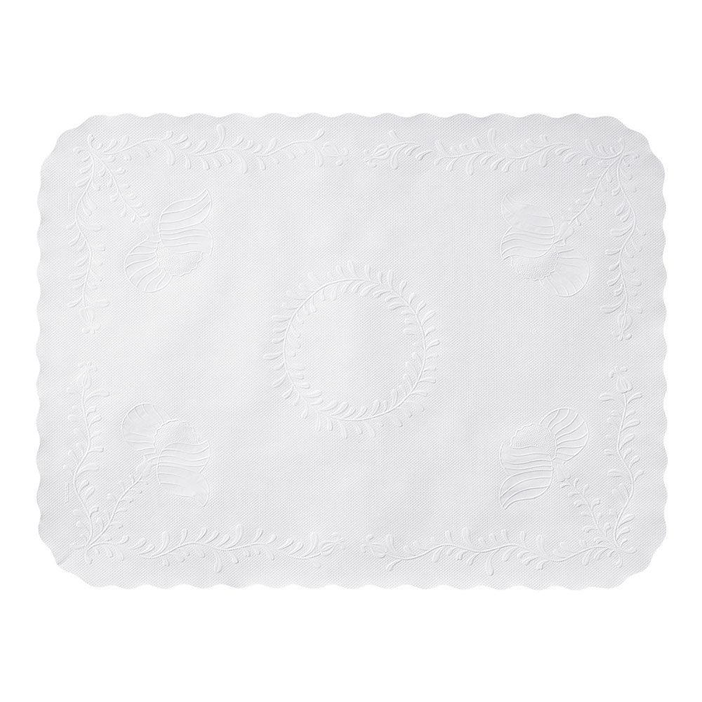 Hoffmaster TC8704462 Anniversary Embossed Scalloped Edge Traymat, 14'' x 19'', White (Pack of 2000)